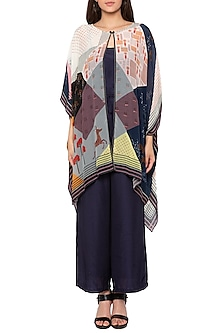 Black Jumpsuit With Printed Cape Jacket by Sous