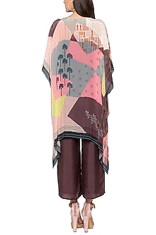 Brown Jumpsuit With Printed Cape Jacket by Sous