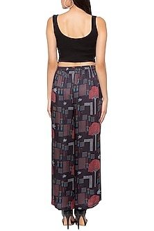 Black Printed Palazzo Pants by Sous