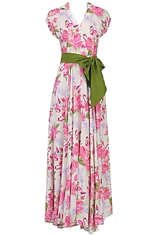 White Floral Printed Flared Maxi Dress