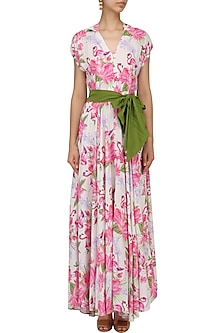 White Floral Printed Flared Maxi Dress by Sonam Parmar
