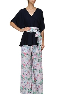 Midnight Blue Flared Top and Palazzo Set by Sonam Parmar