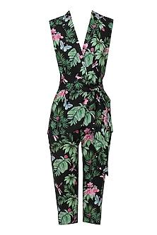 Black Floral Printed Jacket and Capri Pants Set