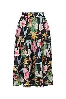 Black Floral Printed Flared Skirt