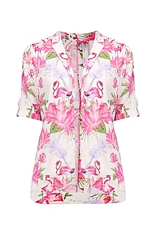White Floral Printed Overlap Jacket