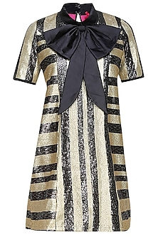Black and gold striped shift dress with a dramatic bow