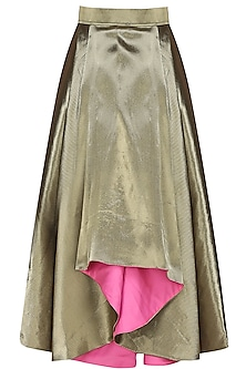 Antique gold dramatic pleated skirt