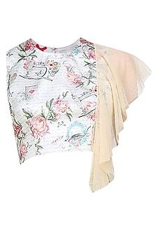 beige floral printed crop top with shoulder flare