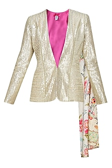 Light gold sequin quaint blazer