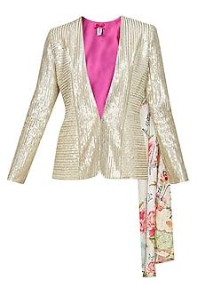 Light gold sequin quaint blazer by Sonam Parmar
