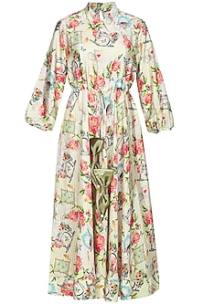 Beige floral and text printed dress