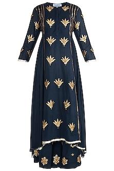 Navy Blue Embroidered Asymmetrical Kurta With Pants by Sareeka H & Mukkta Dograa