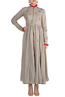 Grey Embroidered Kalidar Jacket by Sareeka H & Mukkta Dograa