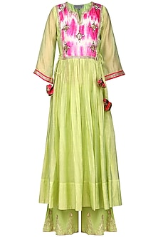 Green Embroidered Kurta with Palazzo Pants