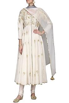 White Embroidered Anarkali Set by Sareeka H & Mukkta Dograa