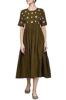 Olive Green Embroidered Dress by Sareeka H & Mukkta Dograa