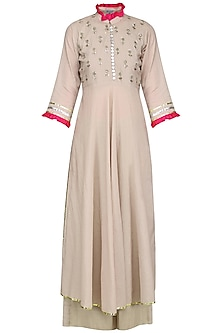 Beige and Pink Embroidered Kurta Set