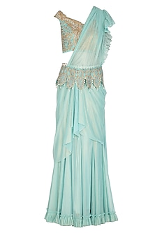 Blue Embroidered Saree Set With Belt by Shashank Arya