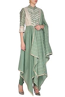 Green Embellished Saree Draped Kurta With Churidar Pants by Shashank Arya