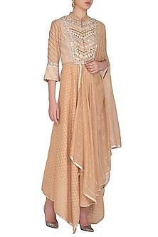 Peach Embellished Saree Draped Kurta With Churidar Pants by Shashank Arya