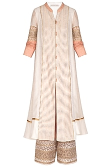 White Embellished Front Open Kurta With Pants by Shashank Arya