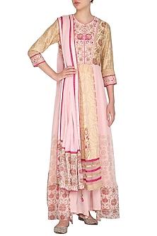 Pink Embroidered Printed Kurta Set by Shashank Arya
