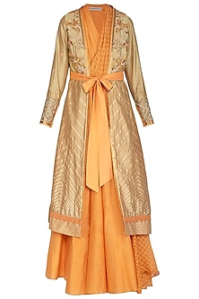 Tangerine Kurta With Pants & Embellished Jacket by Shashank Arya