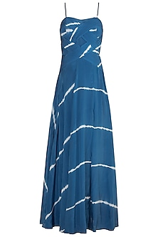 Cerulean Blue Tie-Dye Maxi Dress by In my clothes by Shruti S