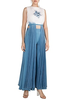 Cerulean Blue Ombre & Embroidered Two-Piece Jumper by In my clothes by Shruti S