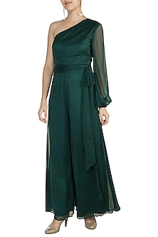 Teal Green One Shoulder Jumpsuit by In my clothes by Shruti S