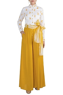 Mustard Hand Painted Jumpsuit With Tie-Up Belt by In my clothes by Shruti S