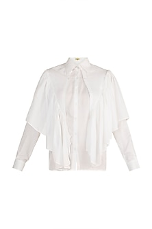 White Ruffled Shirt by In my clothes by Shruti S