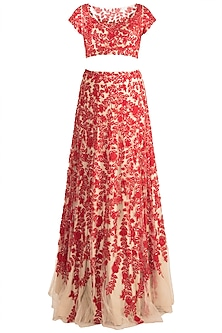 Red & Skin Embroidered Lehenga Set by Soshai