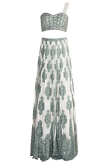 Hunter Green Embroidered Lehenga Skirt With Crop Top by Soshai