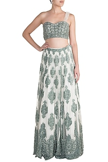 Hunter Green Embroidered Lehenga Skirt With Crop Top by Soshai