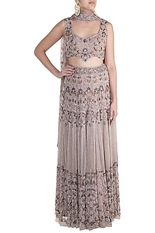 Mauve Embroidered Lehenga Set by Soshai