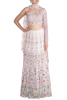 Ivory Embroidered Lehenga Set by Soshai
