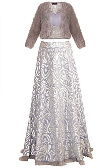 Lilac Silver Lehenga Skirt With Blouse & Ruffled Jacket by Soshai