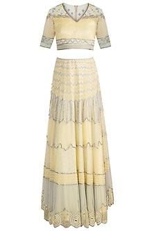 Lemon Yellow Embroidered Lehenga Set by Soshai