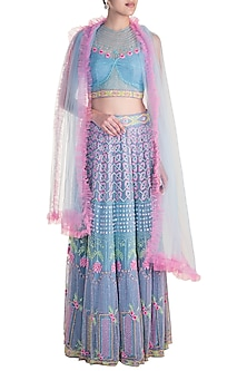 Blue & Pink Embroidered Lehenga Set by Soshai