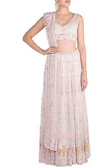 Blush Pink Hand Embroidered Lehenga Set by Soshai