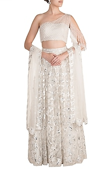 White Embroidered Lehenga Set by Soshai