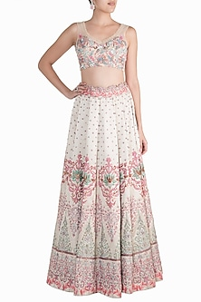 Ivory Hand Embroidered Lehenga Set by Soshai