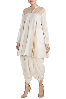 Off White Embroidered Checkered Tunic by Gulabo by Abu Sandeep
