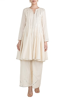 Off White Embroidered Short Kurta by Gulabo by Abu Sandeep