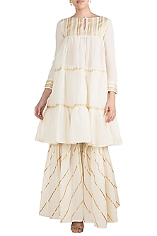 Off White Embroidered Gharara Style Pants by Gulabo by Abu Sandeep