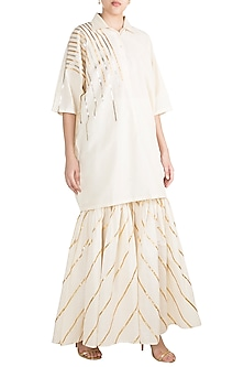Off White Embroidered Kimono With Shirt Collar by Gulabo by Abu Sandeep