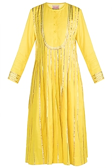 Yellow Embroidered Pleated Kurta by Gulabo by Abu Sandeep