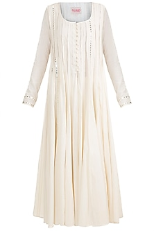 Off White Embroidered Long Anarkali Kurta by Gulabo by Abu Sandeep
