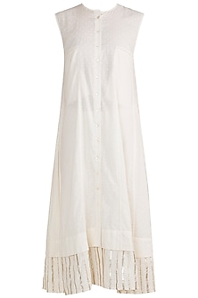Off White Embroidered Sleeveless Tunic by Gulabo by Abu Sandeep